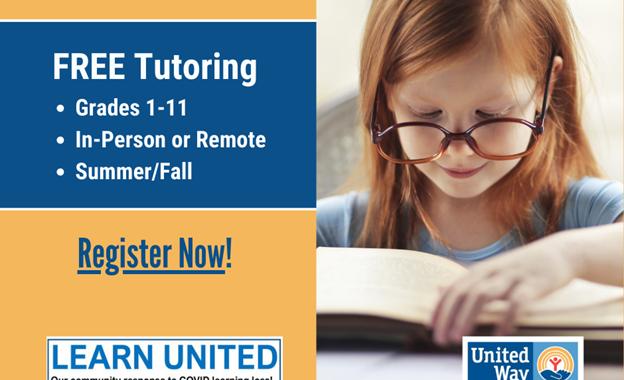 FREE Volunteer-driven Tutoring Through Learn United!
